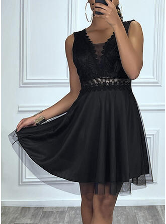 Lace/Solid Sleeveless A-line Above Knee Little Black/Party Skater Dresses