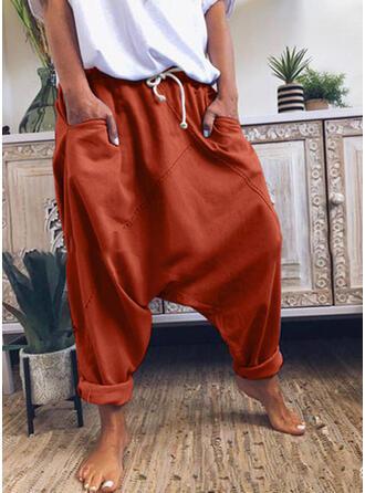 Geometrisch Übergröße Kordelzug Lange Lässige Kleidung Einfarbig Hosen