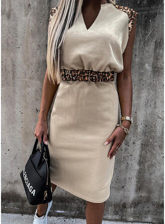 Leopard Sleeveless Sheath Casual Midi Dresses