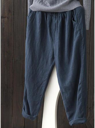 Taschen Shirred Übergröße Midi- Lässige Kleidung Einfarbig Hosen