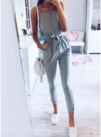 Solid Spaghetti Strap Sleeveless Casual Vacation Jumpsuit