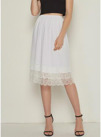Cotton Blends Plain Patchwork Lace Knee Length A-Line Skirts