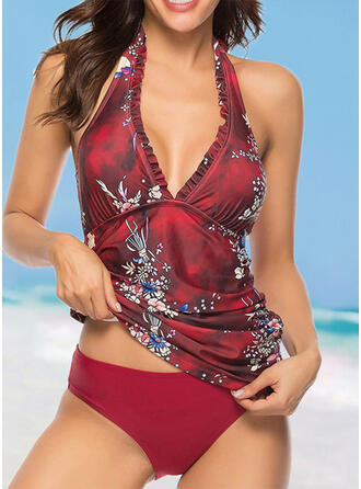 Print Halter V-Neck Fashionable Casual Tankinis Swimsuits