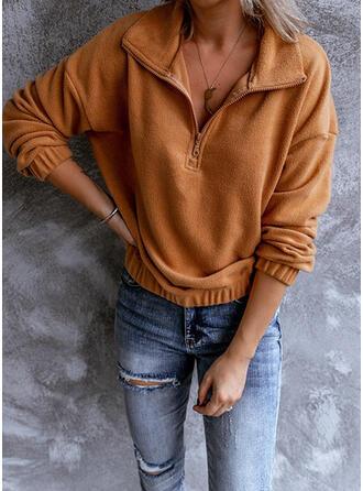 Einfarbig Revers Lange Ärmel Pullover