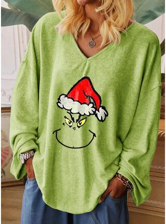 Drucken V-Ausschnitt Lange Ärmel Weihnachten T-shirts