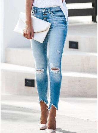 Zerrissen Quaste Lange Elegant Sexy Denim Jeans