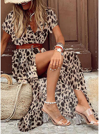 Leopard Short Sleeves A-line Skater Casual/Vacation Maxi Dresses