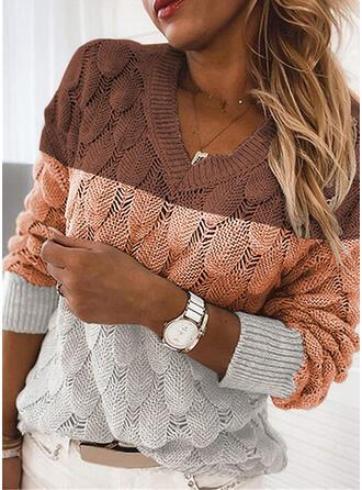Geblockte Farben Zopfmuster V-Ausschnitt Freizeit Pullover