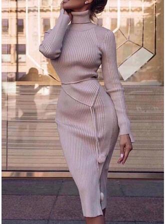 Einfarbig Lange Ärmel Figurbetont Pullover Freizeit/Elegant Midi Kleider