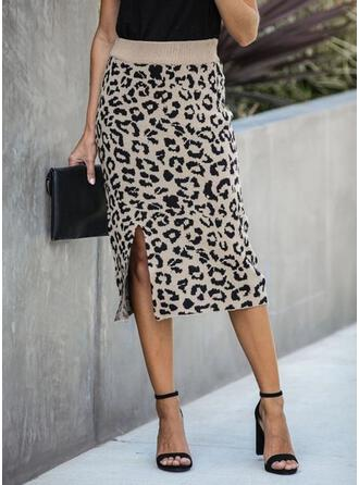 Knitting Animal Print Mid-Calf Bodycon Skirts