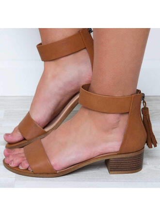 Women's Leatherette Chunky Heel Sandals Peep Toe With Zipper Hollow-out shoes