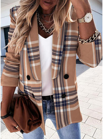 Long Sleeves Plaid Blazers