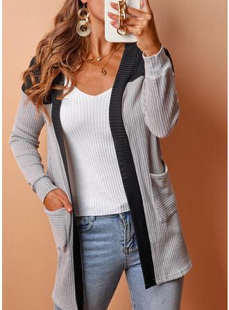 Long Sleeves Color Block Cardigans