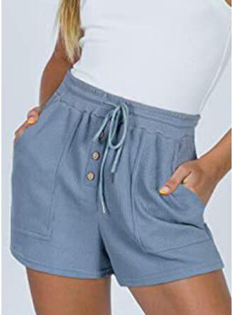 Solid Drawstring Casual Solid Shorts