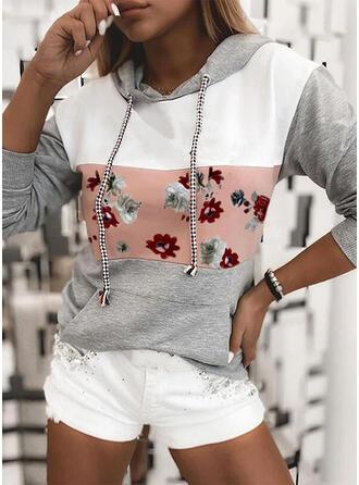 Print Color Block Floral Pockets Long Sleeves Hoodie