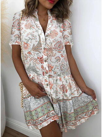 Print/Floral Short Sleeves Shift Above Knee Casual/Vacation Shirt Dresses