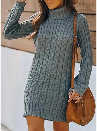 Einfarbig Zopfmuster Rollkragen Freizeit Lang Pulloverkleid