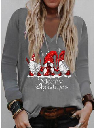 Christmas Print Letter Santa V-Neck Long Sleeves T-shirts