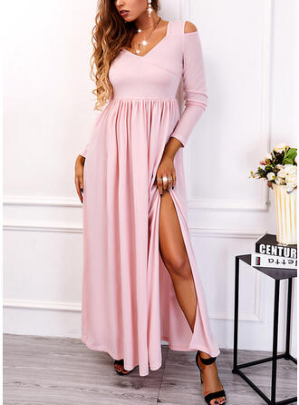 Solid Long Sleeves Cold Shoulder Sleeve A-line Skater Casual Maxi Dresses