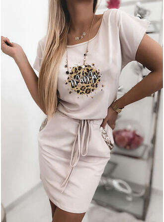Print/Leopard Short Sleeves Bodycon Above Knee Casual/Mother's Day Dresses