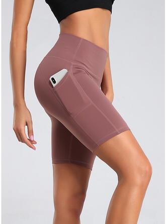Geometrisch Taschen Übergröße Über dem Knie Sexy Yoga Kurze Hose Gamaschen