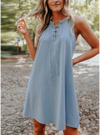 Solid/Lace-up Sleeveless Shift Above Knee Casual Tank Dresses