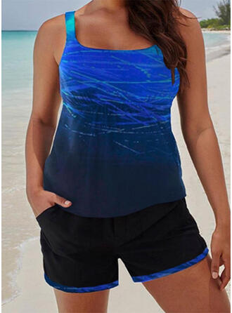 Gradient Strap U-Neck Sports Casual Tankinis Swimsuits