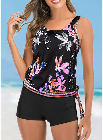Print Knotted Strap U-Neck Attractive Casual Tankinis Swimsuits