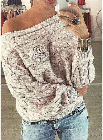 Einfarbig Zopfmuster One-Shoulder Freizeit Pullover