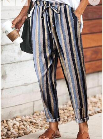 gestreift Kordelzug Lange Lässige Kleidung Hosen