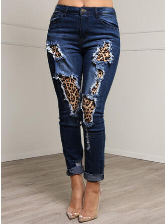 Leopard Denim Long Casual Plus Size Pocket Shirred Ripped Button Pants Denim & Jeans