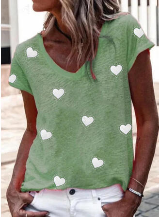 Heart Print V-Neck Short Sleeves T-shirts