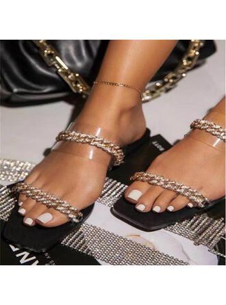 Women's Plastics Flat Heel Sandals Peep Toe Slippers Square Toe With Rhinestone Chain shoes