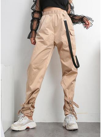 Einfarbig Taschen Lässige Kleidung Jahrgang Hosen