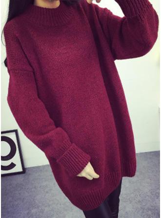 Einfarbig Rollkragen Freizeit Weit Pulloverkleid