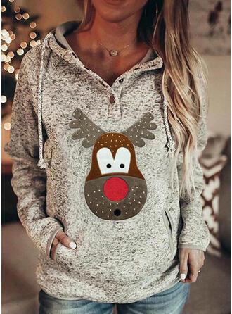Tierdruck Lange Ärmel Weihnachts-Sweatshirt