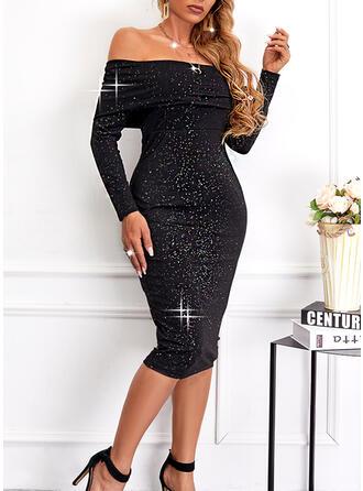 Solid Sequins Long Sleeves Sheath Knee Length Elegant Dresses