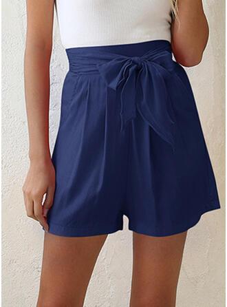 Taschen Shirred Über dem Knie Lässige Kleidung Elegant Kurze Hose