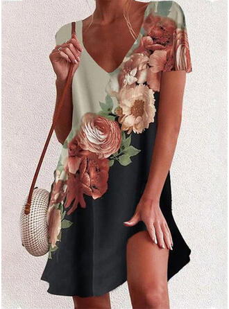 Print/Floral/Color Block Short Sleeves Shift Above Knee Casual/Vacation Tunic Dresses