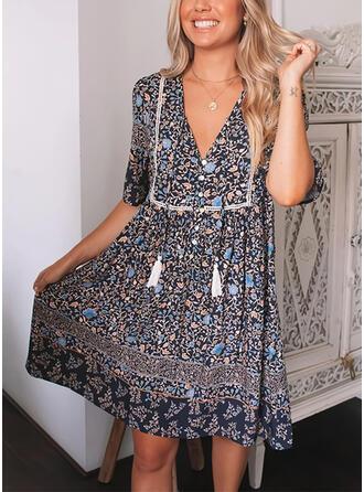 Print/Floral/Tassel Short Sleeves A-line Above Knee Casual Skater Dresses