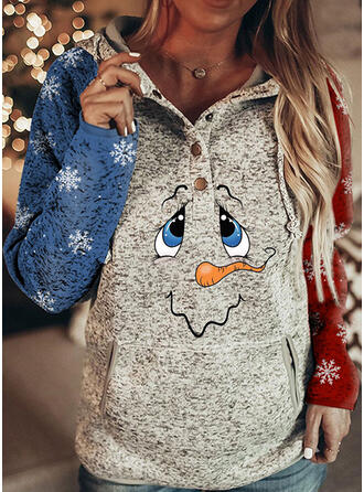 Drucken Farbblock Lange Ärmel Weihnachts-Sweatshirt