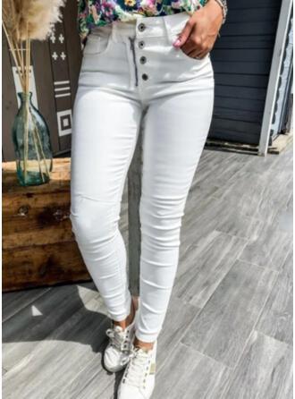 Solid Denim Long Casual Plus Size Pocket Button Pants