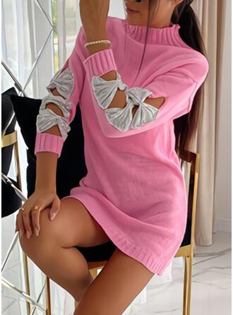 Pailletten Stehkragen Freizeit Lang Pulloverkleid