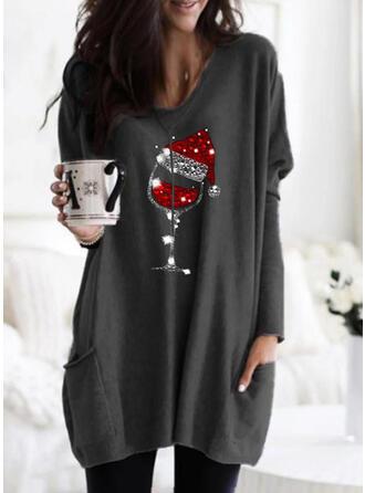Pailletten V-Ausschnitt Lange Ärmel Weihnachts-Sweatshirt