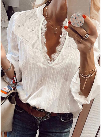 Solid Lace Hollow-out V-Neck 3/4 Sleeves Casual Blouses