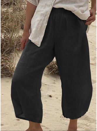 Einfarbig Shirred Midi- Lässige Kleidung Einfarbig Einfach Hosen