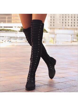 Frauen PU Flascher Absatz Flache Schuhe Geschlossene Zehe Stiefel Stiefel über Knie mit Zuschnüren Schuhe