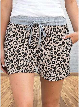 Plus Size Leopard Casual Print Shorts