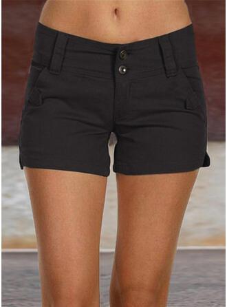 Taschen Shirred Übergröße Über dem Knie Lässige Kleidung Sexy Einfarbig Kurze Hose
