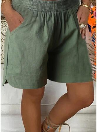Taschen Shirred Übergröße Über dem Knie Lässige Kleidung Einfarbig Sportlich Kurze Hose